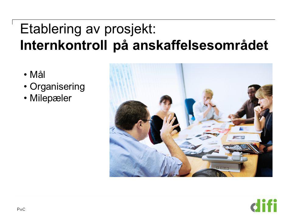 PwC Etablering av prosjekt: Internkontroll på anskaffelsesområdet • Mål • Organisering • Milepæler