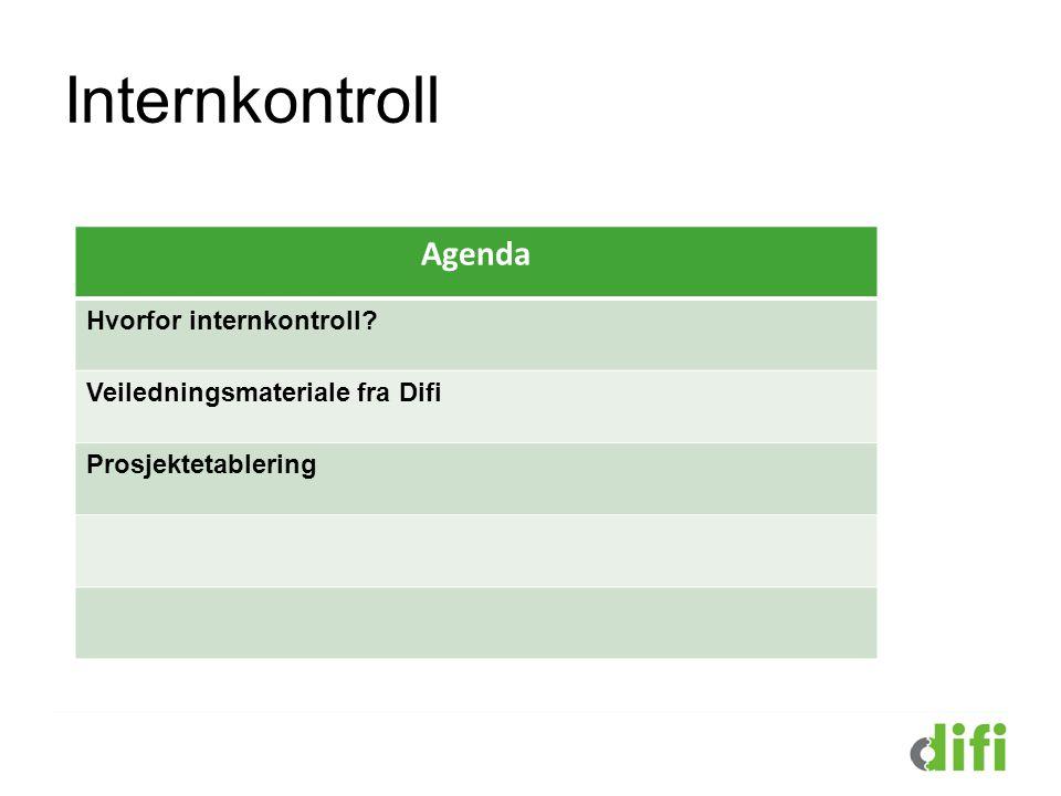 Internkontroll Agenda Hvorfor internkontroll? Veiledningsmateriale fra Difi Prosjektetablering