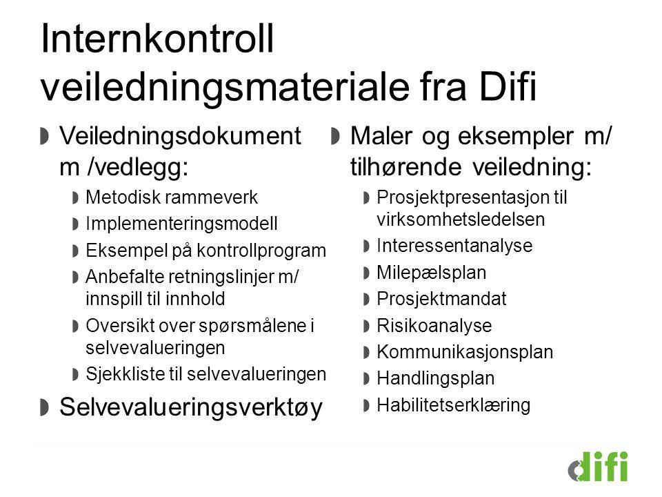 Internkontroll veiledningsmateriale fra Difi Veiledningsdokument m /vedlegg: Metodisk rammeverk Implementeringsmodell Eksempel på kontrollprogram Anbe
