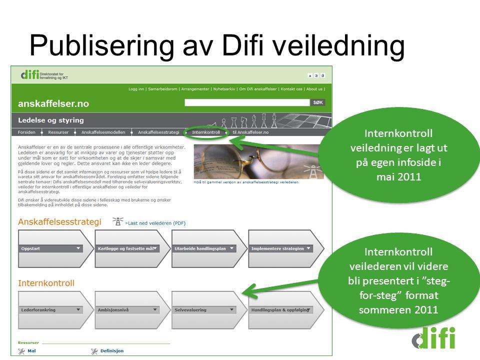 Internkontroll veiledning er lagt ut på egen infoside i mai 2011 Publisering av Difi veiledning Internkontroll veilederen vil videre bli presentert i