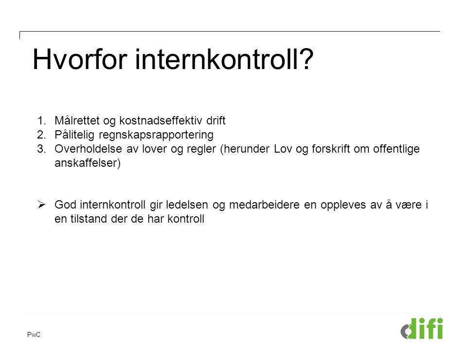 PwC Hvorfor internkontroll? 1.Målrettet og kostnadseffektiv drift 2.Pålitelig regnskapsrapportering 3.Overholdelse av lover og regler (herunder Lov og