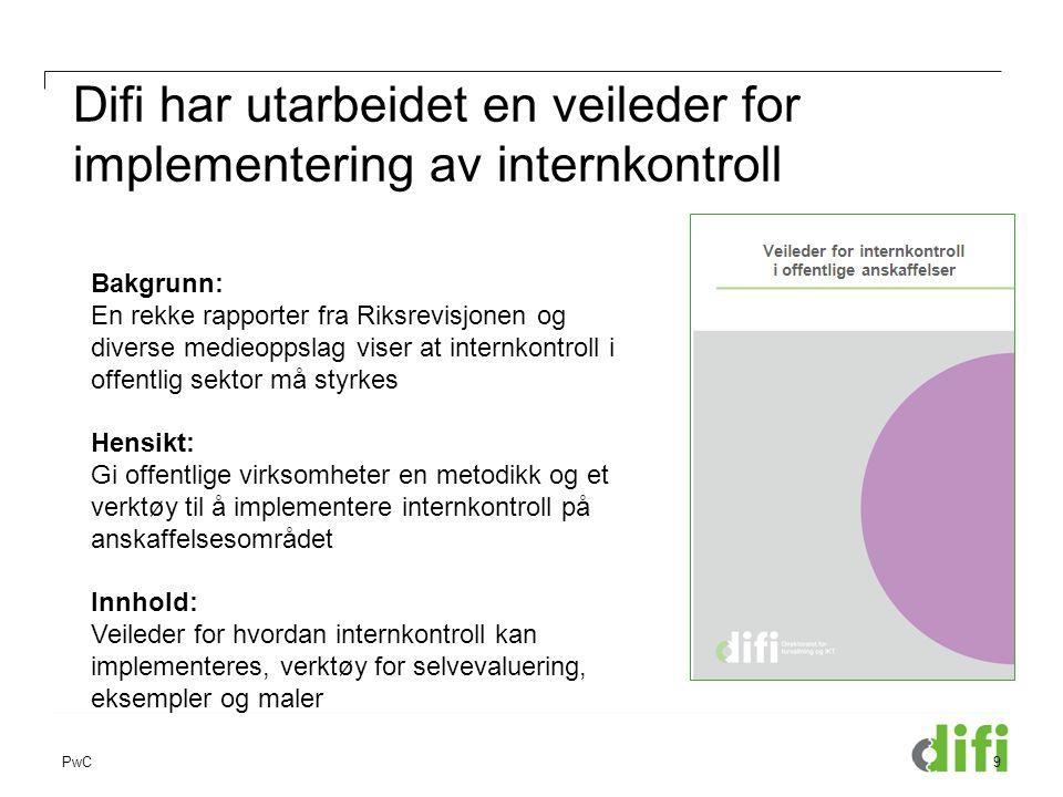PwC Difi har utarbeidet en veileder for implementering av internkontroll 9 Bakgrunn: En rekke rapporter fra Riksrevisjonen og diverse medieoppslag vis