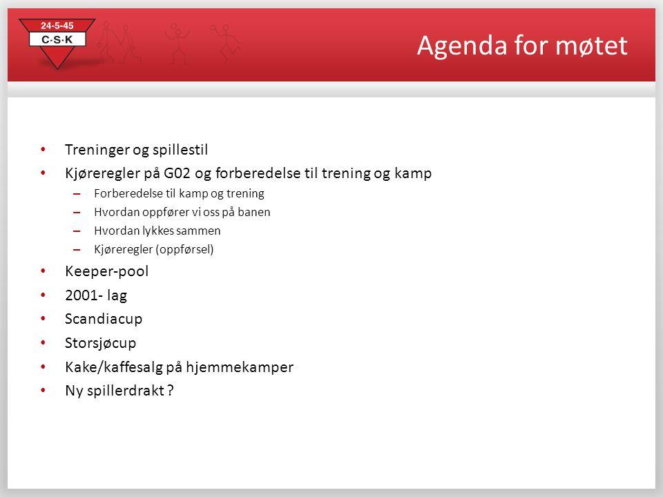 Agenda for møtet • Treninger og spillestil • Kjøreregler på G02 og forberedelse til trening og kamp – Forberedelse til kamp og trening – Hvordan oppfø