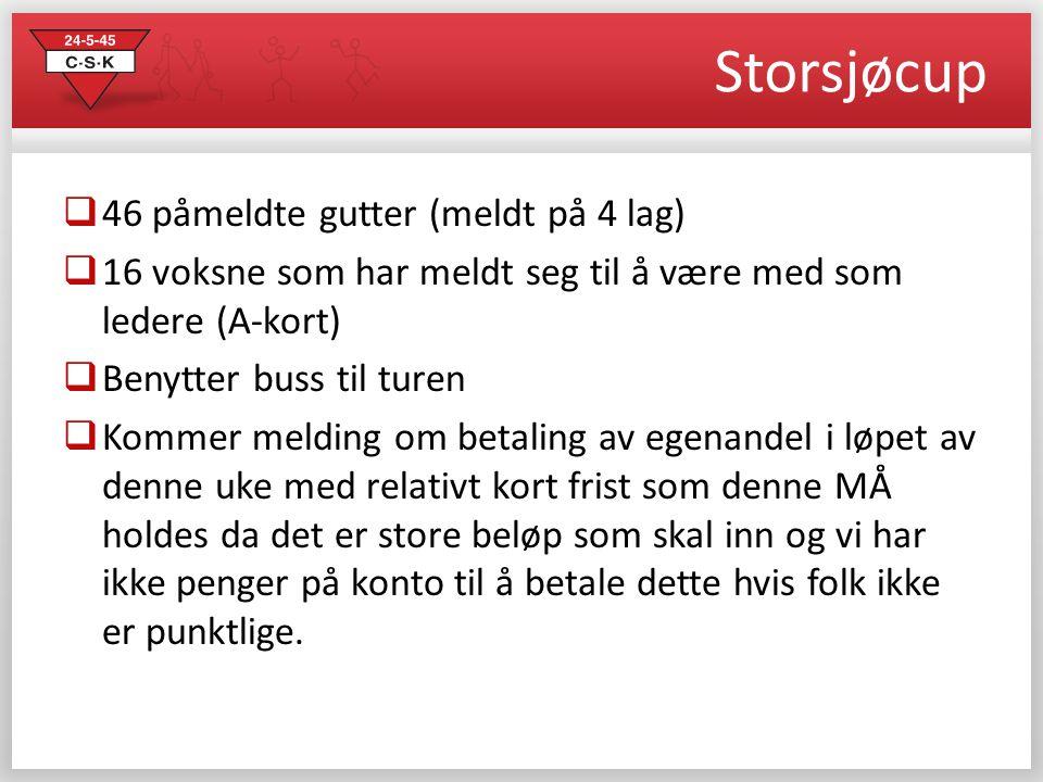 Storsjøcup  46 påmeldte gutter (meldt på 4 lag)  16 voksne som har meldt seg til å være med som ledere (A-kort)  Benytter buss til turen  Kommer m