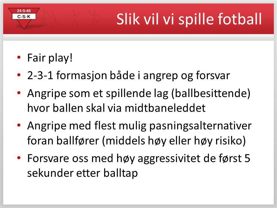Slik vil vi spille fotball • Fair play! • 2-3-1 formasjon både i angrep og forsvar • Angripe som et spillende lag (ballbesittende) hvor ballen skal vi