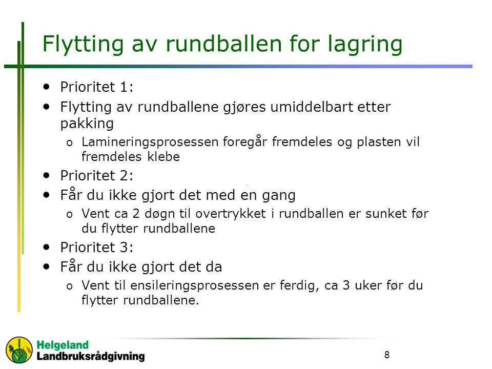 Flytting av rundballen for lagring • Prioritet 1: • Flytting av rundballene gjøres umiddelbart etter pakking o Lamineringsprosessen foregår fremdeles