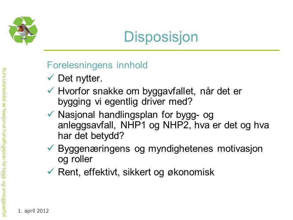 Kurs utarbeidet av Nasjonal handlingsplan for bygg- og anleggsavfall Disposisjon Forelesningens innhold  Det nytter.