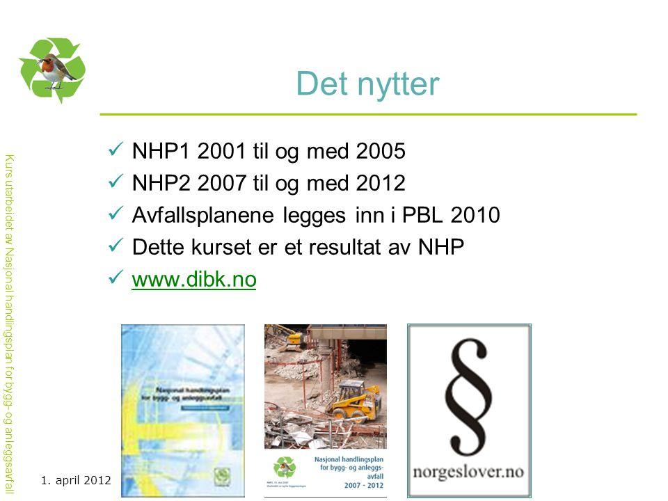 Kurs utarbeidet av Nasjonal handlingsplan for bygg- og anleggsavfall Det nytter  NHP1 2001 til og med 2005  NHP2 2007 til og med 2012  Avfallsplanene legges inn i PBL 2010  Dette kurset er et resultat av NHP  www.dibk.no www.dibk.no 1.