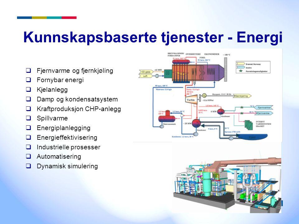 3 Kunnskapsbaserte tjenester - Energi  Fjernvarme og fjernkjøling  Fornybar energi  Kjelanlegg  Damp og kondensatsystem  Kraftproduksjon CHP-anle