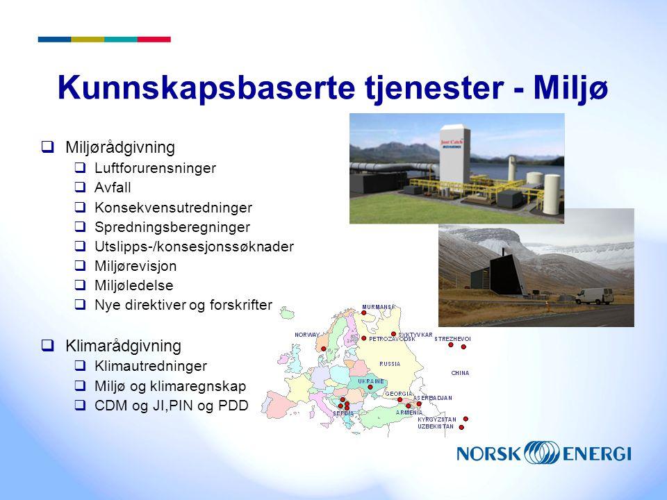 Kunnskapsbaserte tjenester - Miljø  Miljørådgivning  Luftforurensninger  Avfall  Konsekvensutredninger  Spredningsberegninger  Utslipps-/konsesj