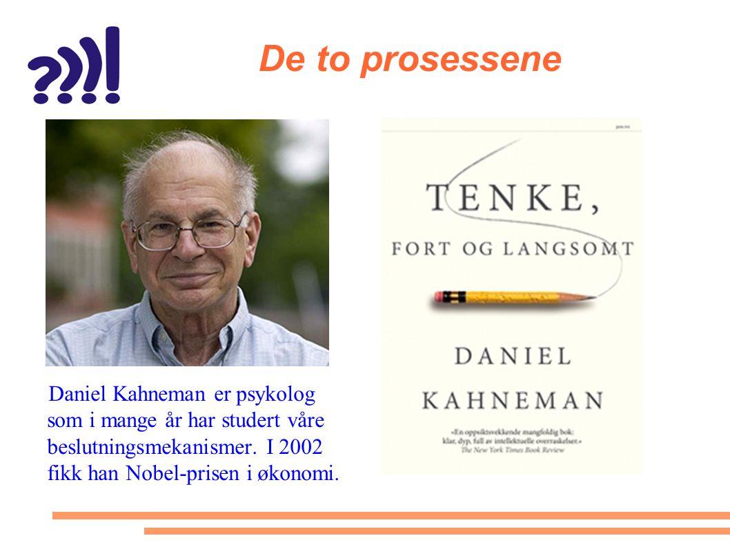 De to prosessene Daniel Kahneman er psykolog som i mange år har studert våre beslutningsmekanismer. I 2002 fikk han Nobel-prisen i økonomi.