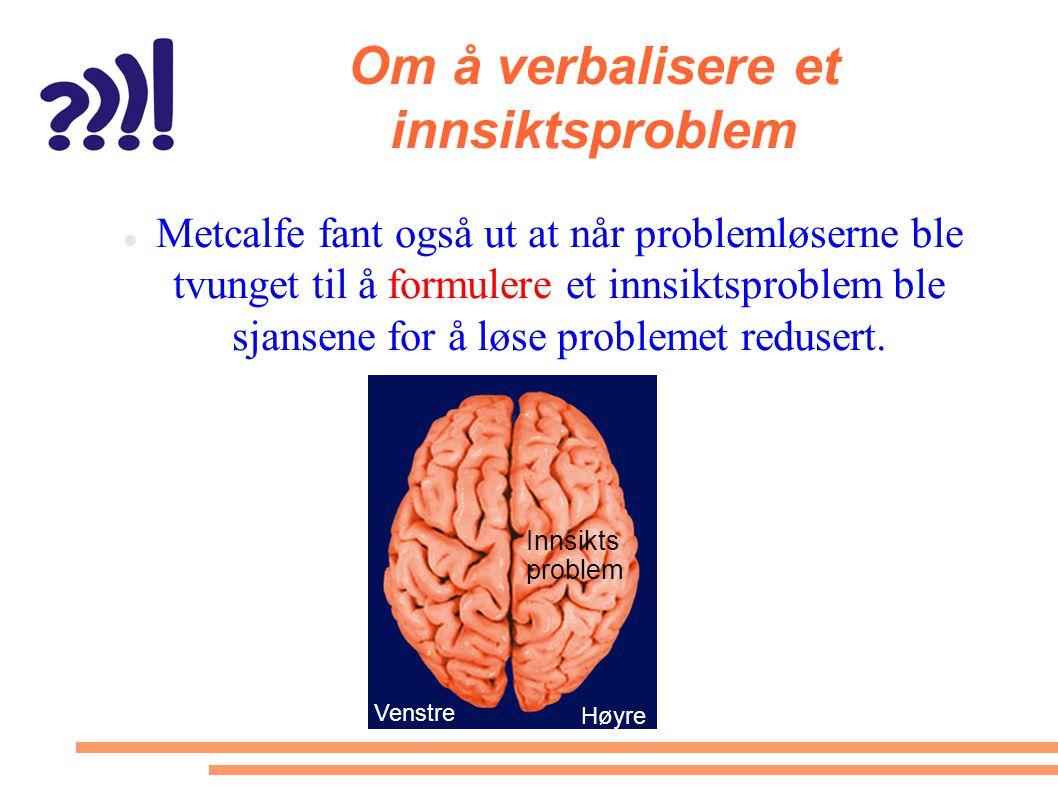 Om å verbalisere et innsiktsproblem  Metcalfe fant også ut at når problemløserne ble tvunget til å formulere et innsiktsproblem ble sjansene for å lø