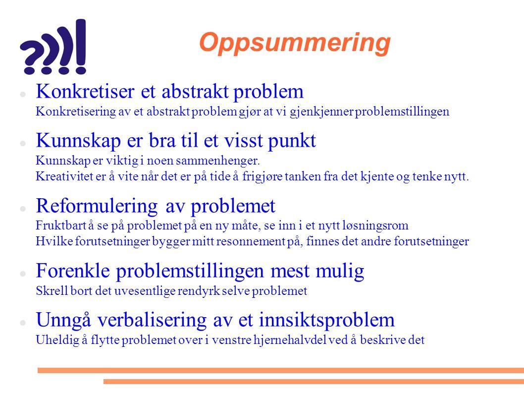 Oppsummering  Konkretiser et abstrakt problem Konkretisering av et abstrakt problem gjør at vi gjenkjenner problemstillingen  Kunnskap er bra til et