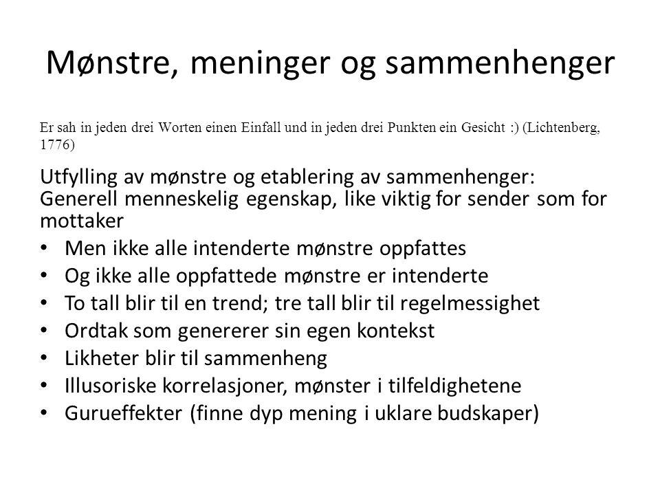 Mønstre, meninger og sammenhenger Er sah in jeden drei Worten einen Einfall und in jeden drei Punkten ein Gesicht :) (Lichtenberg, 1776) Utfylling av