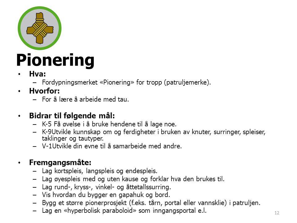 Pionering •Hva: –Fordypningsmerket «Pionering» for tropp (patruljemerke). •Hvorfor: –For å lære å arbeide med tau. •Bidrar til følgende mål: –K-5 Få ø