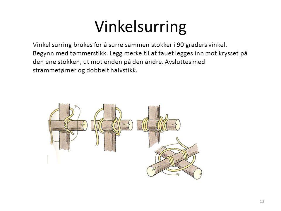 Vinkelsurring Vinkel surring brukes for å surre sammen stokker i 90 graders vinkel. Begynn med tømmerstikk. Legg merke til at tauet legges inn mot kry