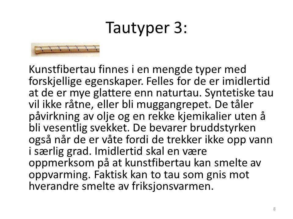 Tautyper 3: Kunstfibertau finnes i en mengde typer med forskjellige egenskaper. Felles for de er imidlertid at de er mye glattere enn naturtau. Syntet
