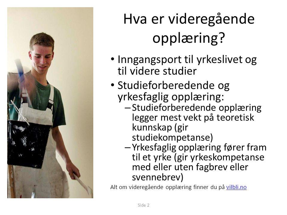 Gjeldende per 08.02.2013Side 3 Hva er videregående opplæring.