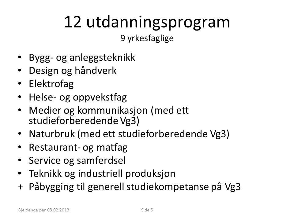 Gjeldende per 08.02.2013Side 5 12 utdanningsprogram 9 yrkesfaglige • Bygg- og anleggsteknikk • Design og håndverk • Elektrofag • Helse- og oppvekstfag