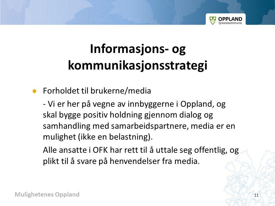 Mulighetenes Oppland Informasjons- og kommunikasjonsstrategi  Forholdet til brukerne/media - Vi er her på vegne av innbyggerne i Oppland, og skal bygge positiv holdning gjennom dialog og samhandling med samarbeidspartnere, media er en mulighet (ikke en belastning).