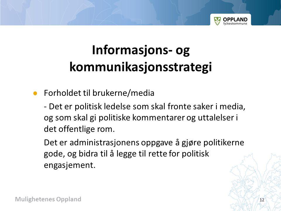 Mulighetenes Oppland Informasjons- og kommunikasjonsstrategi  Forholdet til brukerne/media - Det er politisk ledelse som skal fronte saker i media, og som skal gi politiske kommentarer og uttalelser i det offentlige rom.