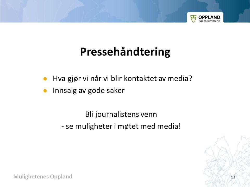 Mulighetenes Oppland Pressehåndtering  Hva gjør vi når vi blir kontaktet av media.