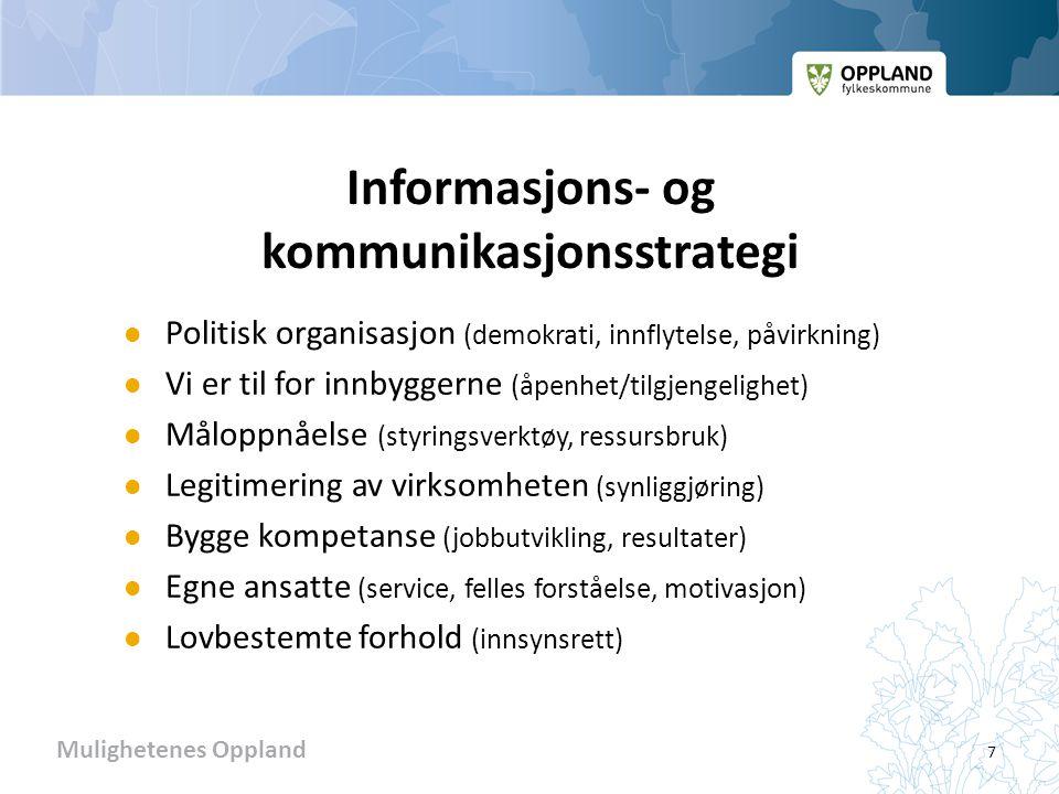 Mulighetenes Oppland Informasjons- og kommunikasjonsstrategi  Politisk organisasjon (demokrati, innflytelse, påvirkning)  Vi er til for innbyggerne (åpenhet/tilgjengelighet)  Måloppnåelse (styringsverktøy, ressursbruk)  Legitimering av virksomheten (synliggjøring)  Bygge kompetanse (jobbutvikling, resultater)  Egne ansatte (service, felles forståelse, motivasjon)  Lovbestemte forhold (innsynsrett) 7