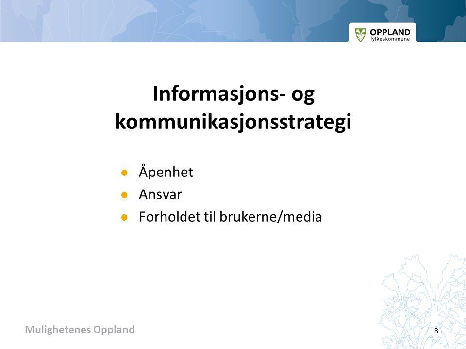 Mulighetenes Oppland Informasjons- og kommunikasjonsstrategi  Åpenhet  Ansvar  Forholdet til brukerne/media 8