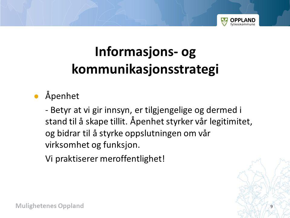 Mulighetenes Oppland Informasjons- og kommunikasjonsstrategi  Åpenhet - Betyr at vi gir innsyn, er tilgjengelige og dermed i stand til å skape tillit.