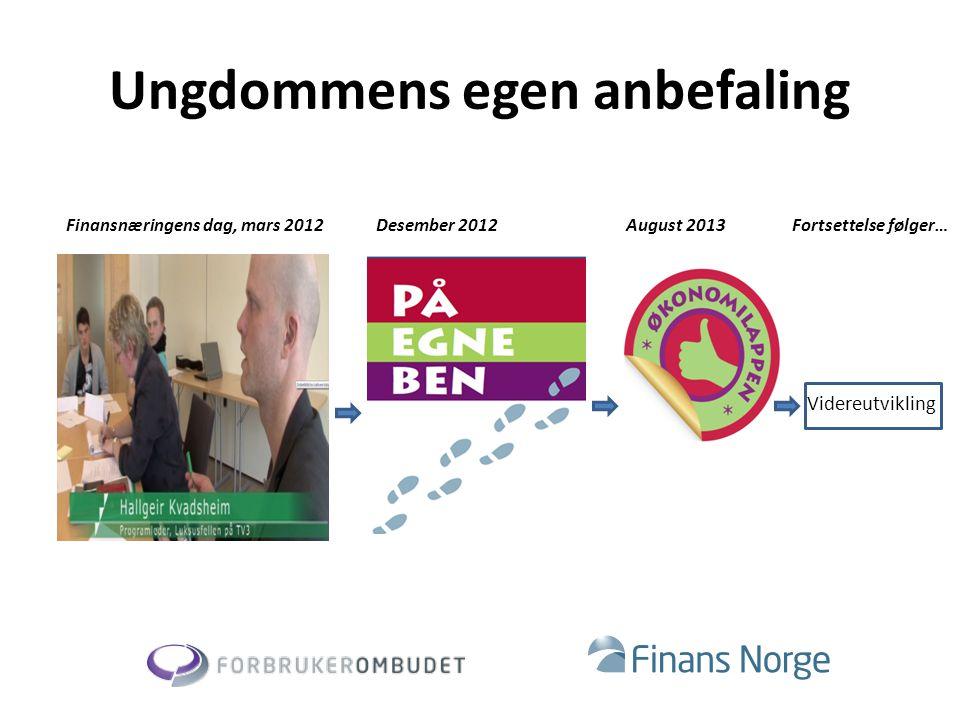 Ungdommens egen anbefaling Finansnæringens dag, mars 2012August 2013Desember 2012 Videreutvikling Fortsettelse følger…