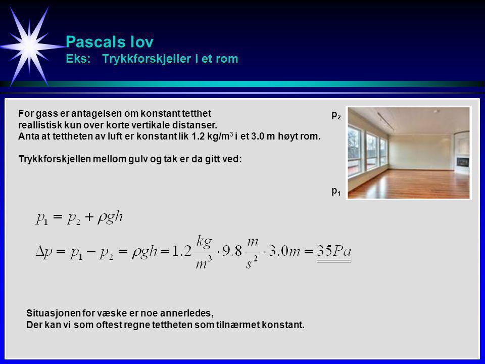 Pascals lov Eks: Trykkforskjeller i et rom For gass er antagelsen om konstant tetthet reallistisk kun over korte vertikale distanser. Anta at tetthete