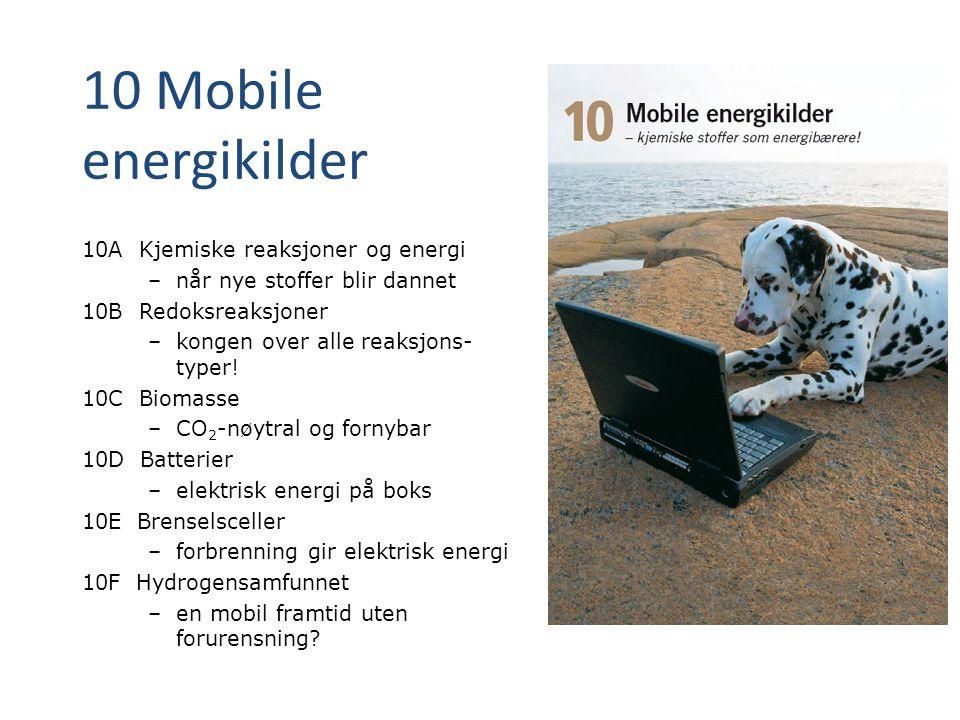 10 Mobile energikilder 10A Kjemiske reaksjoner og energi – når nye stoffer blir dannet 10B Redoksreaksjoner – kongen over alle reaksjons- typer! 10C B