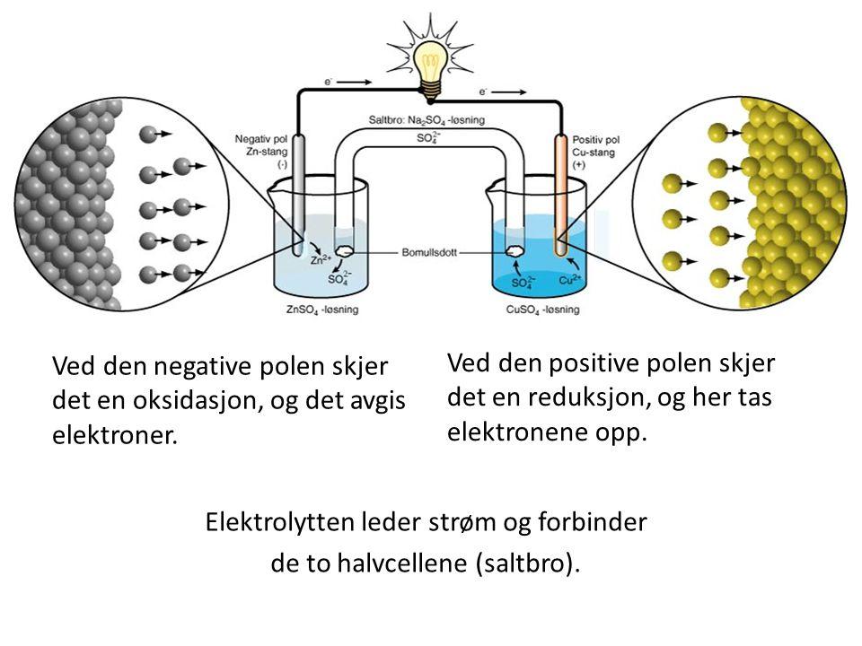 Ved den negative polen skjer det en oksidasjon, og det avgis elektroner. Ved den positive polen skjer det en reduksjon, og her tas elektronene opp. El