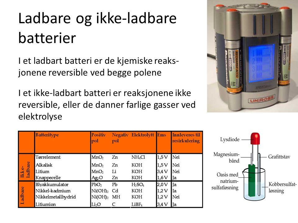 Ladbare og ikke-ladbare batterier I et ladbart batteri er de kjemiske reaks- jonene reversible ved begge polene I et ikke-ladbart batteri er reaksjone
