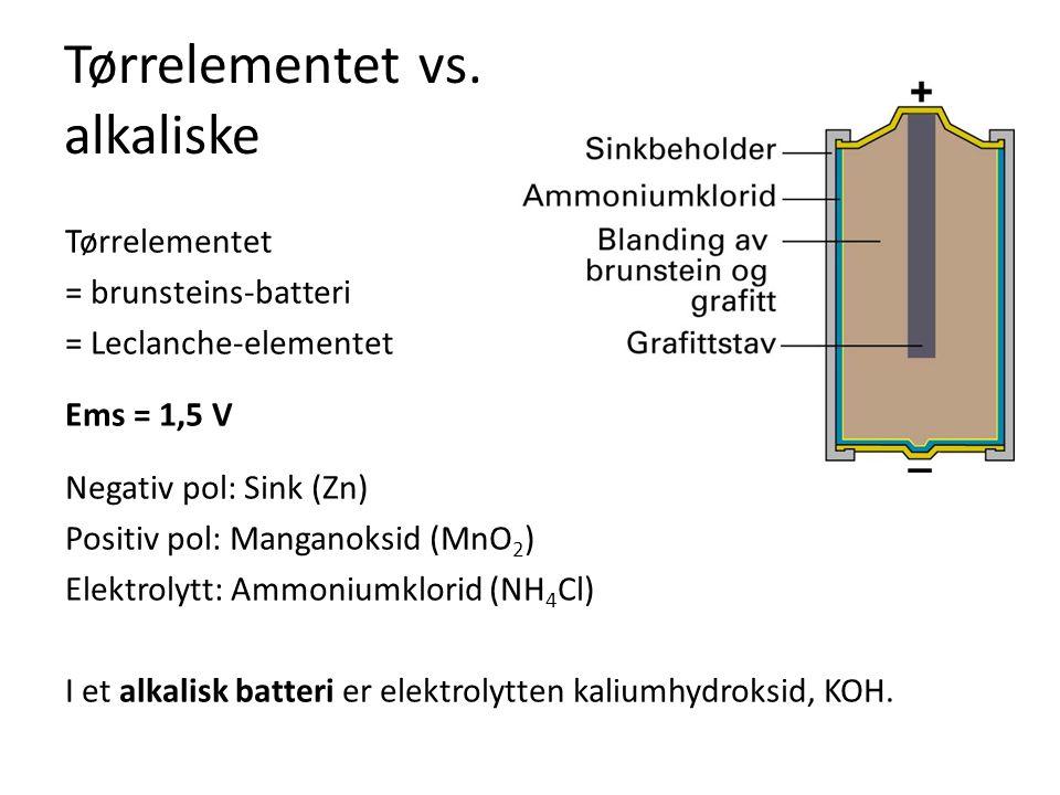 Tørrelementet vs. alkaliske Tørrelementet = brunsteins-batteri = Leclanche-elementet Ems = 1,5 V Negativ pol: Sink (Zn) Positiv pol: Manganoksid (MnO