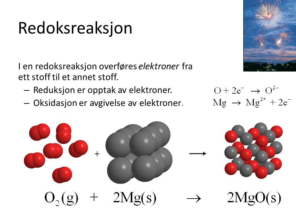 Redoksreaksjon I en redoksreaksjon overføres elektroner fra ett stoff til et annet stoff. – Reduksjon er opptak av elektroner. – Oksidasjon er avgivel