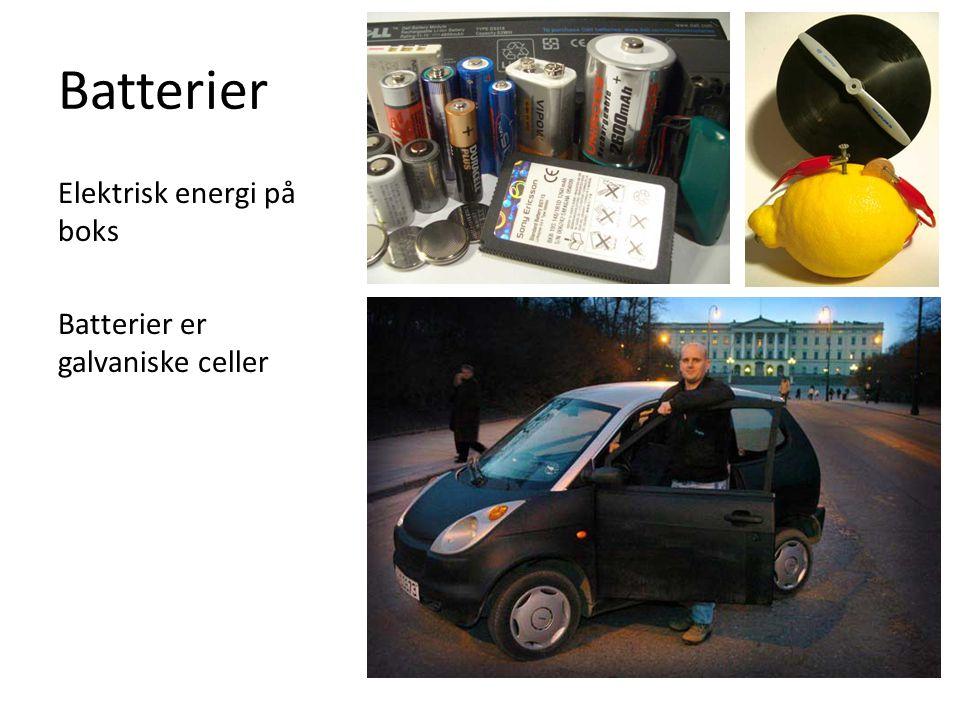 NiMH – nikkel- metallhydridbatterier Det vanligste ladbare batteriet i dag Ems = 1,2 V Nesten en brenselcelle … Hydrogen er reduksjonsmiddelet Energitettheten og kapasitet er større enn NiCd Ikke like stort problem med hukommelse