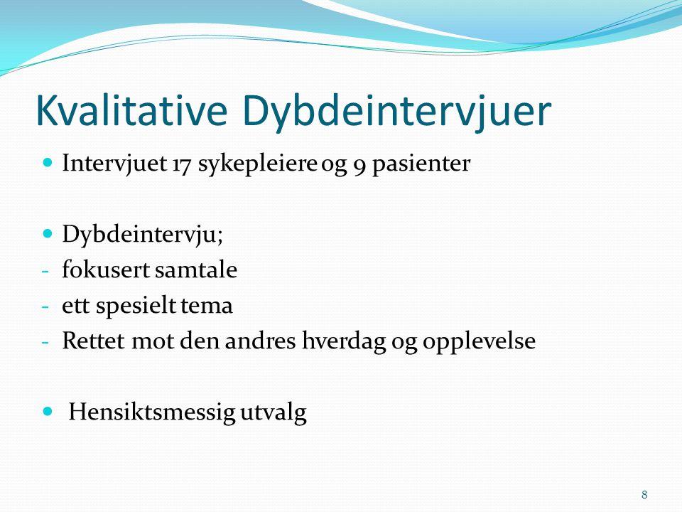 Kvalitative Dybdeintervjuer  Intervjuet 17 sykepleiere og 9 pasienter  Dybdeintervju; - fokusert samtale - ett spesielt tema - Rettet mot den andres