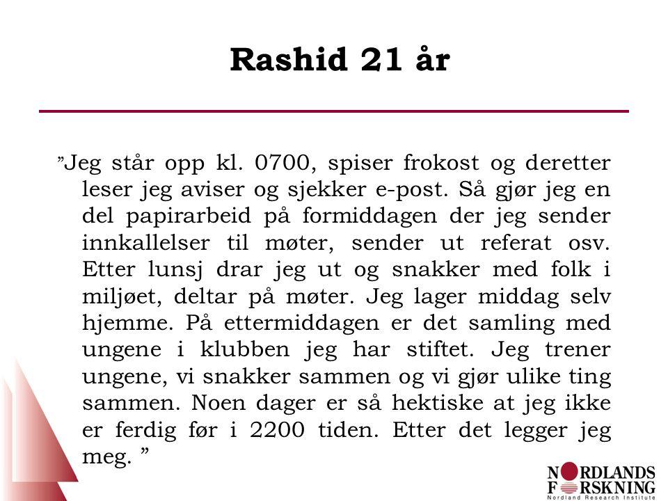"""Rashid 21 år """" Jeg står opp kl. 0700, spiser frokost og deretter leser jeg aviser og sjekker e-post. Så gjør jeg en del papirarbeid på formiddagen der"""