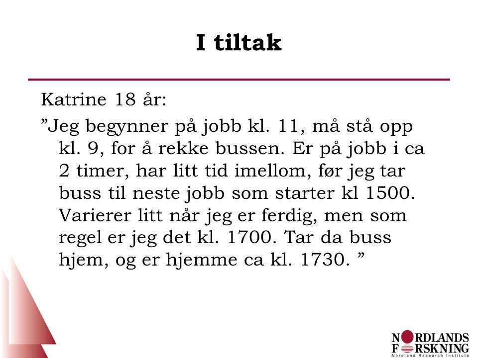 """I tiltak Katrine 18 år: """"Jeg begynner på jobb kl. 11, må stå opp kl. 9, for å rekke bussen. Er på jobb i ca 2 timer, har litt tid imellom, før jeg tar"""