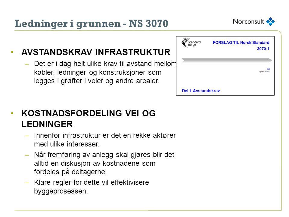 Status per i dag •Standardkomite for NS 3070, avholdt 7møter –Bærum kommune –Hafslund Nett –Hafslund Varme –Høyspent AS –KS –MEF –Norconsult AS –Norsk Vann –Oslo kommune –REN –Post og Teletilsynet –Telenor –VA/VVS-produsentene –Vegdirektoratet •Slik det ser ut nå: Ferdig i 2015 med NS 30170-1, hva med NS 3070-2 (kostnadsfordeling)?