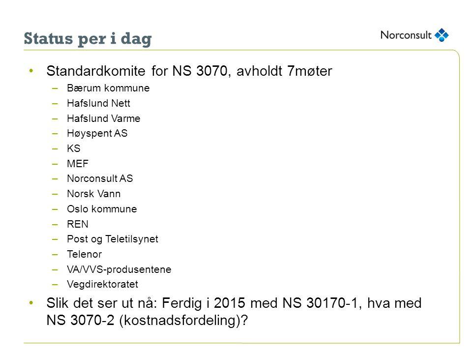 Status per i dag •Standardkomite for NS 3070, avholdt 7møter –Bærum kommune –Hafslund Nett –Hafslund Varme –Høyspent AS –KS –MEF –Norconsult AS –Norsk