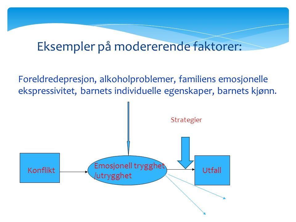 Konflikt Emosjonell trygghet /utrygghet Utfall Eksempler på modererende faktorer: Foreldredepresjon, alkoholproblemer, familiens emosjonelle ekspressi