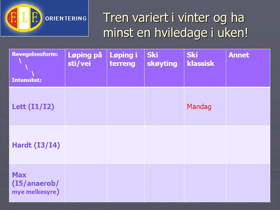 Tren variert i vinter og ha minst en hviledage i uken.
