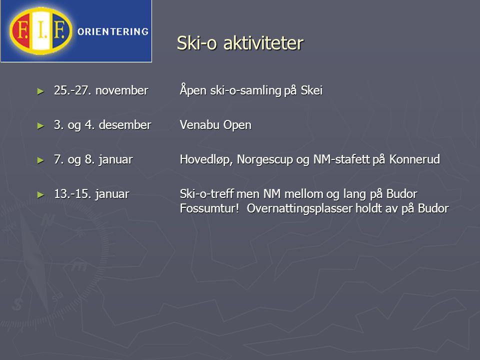 Ski-o aktiviteter ► 25.-27. novemberÅpen ski-o-samling på Skei ► 3. og 4. desemberVenabu Open ► 7. og 8. januarHovedløp, Norgescup og NM-stafett på Ko