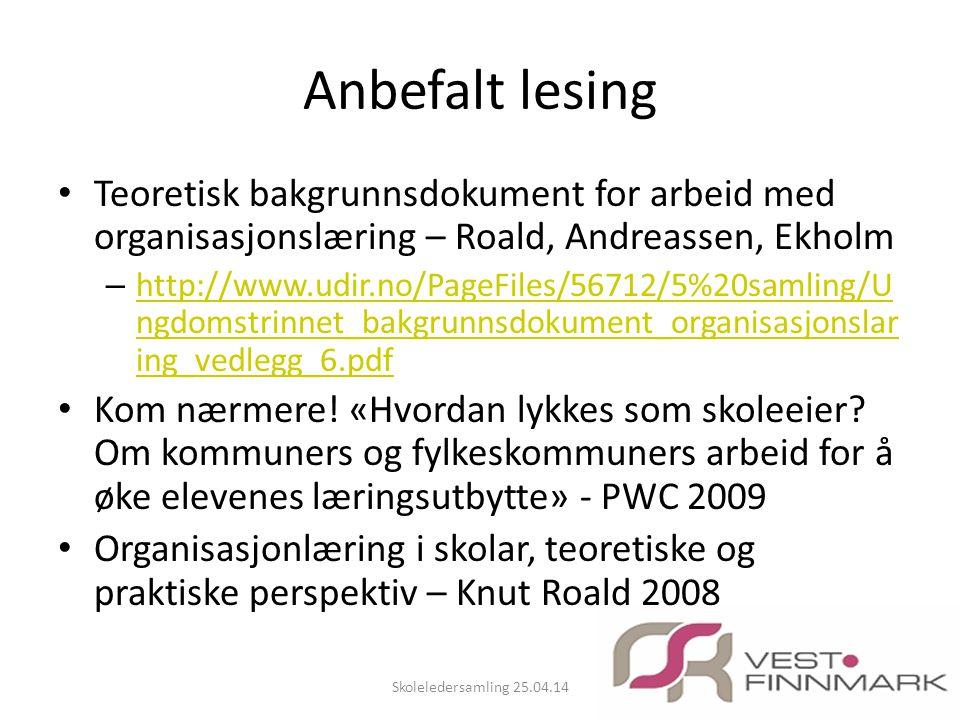Anbefalt lesing • Teoretisk bakgrunnsdokument for arbeid med organisasjonslæring – Roald, Andreassen, Ekholm – http://www.udir.no/PageFiles/56712/5%20