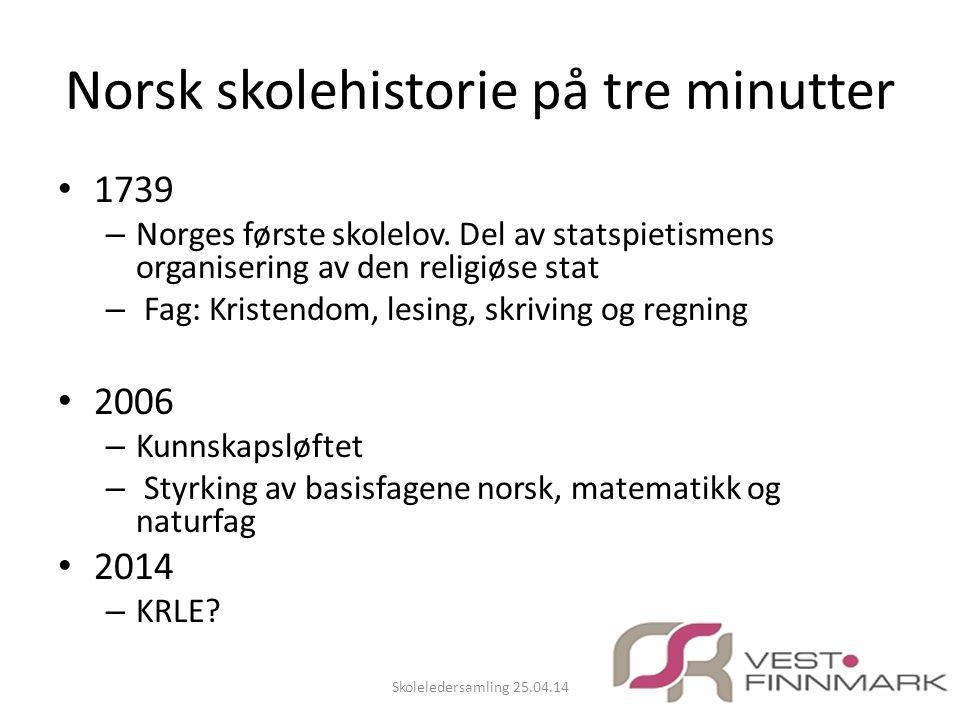 Norsk skolehistorie på tre minutter • 1739 – Norges første skolelov. Del av statspietismens organisering av den religiøse stat – Fag: Kristendom, lesi