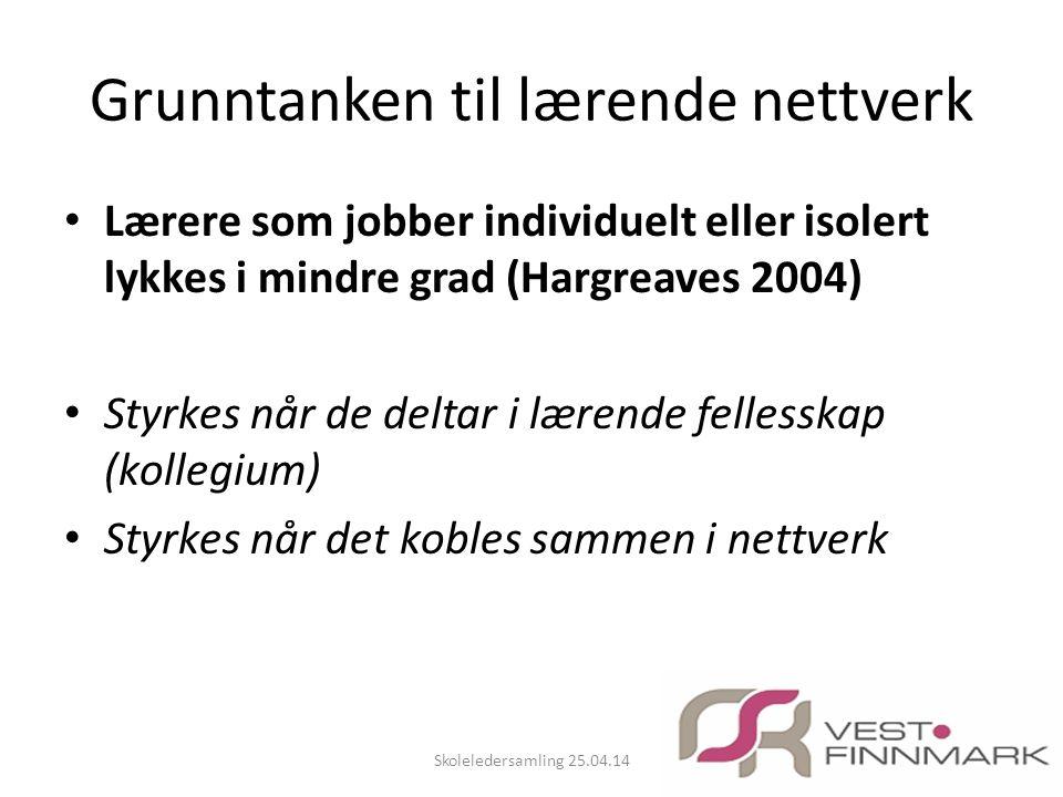 Grunntanken til lærende nettverk • Lærere som jobber individuelt eller isolert lykkes i mindre grad (Hargreaves 2004) • Styrkes når de deltar i lærend