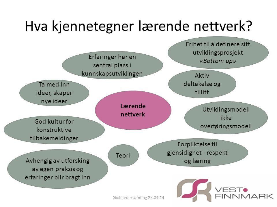 Hva kjennetegner lærende nettverk? Skoleledersamling 25.04.14 Lærende nettverk Erfaringer har en sentral plass i kunnskapsutviklingen Frihet til å def