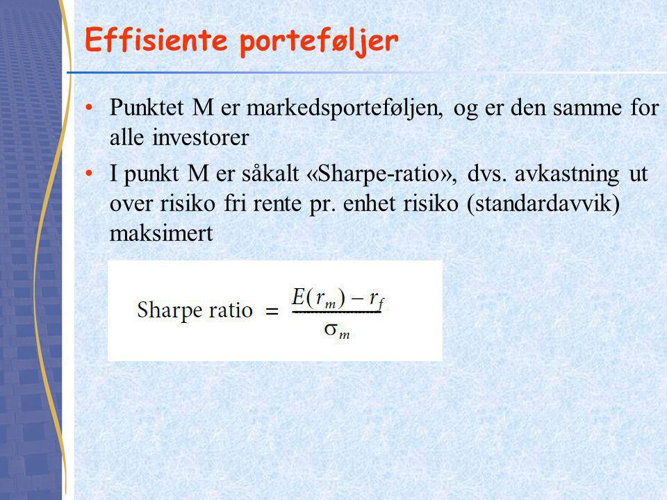 •Punktet M er markedsporteføljen, og er den samme for alle investorer •I punkt M er såkalt «Sharpe-ratio», dvs. avkastning ut over risiko fri rente pr